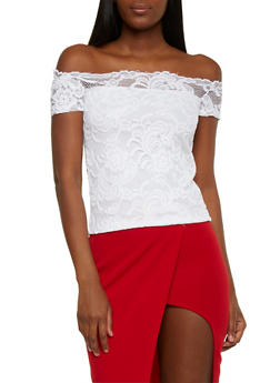 Off the Shoulder Lace Top - WHITE - 1305054268809