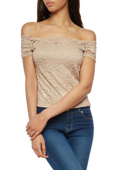 Lace Off the Shoulder Top - 1305054268810
