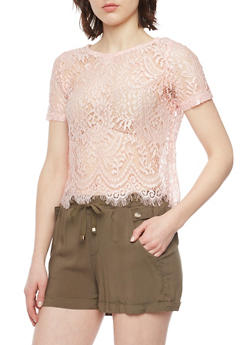 Short Sleeve Lace Crop Top with Scallop Hem - BLUSH - 1305054269343