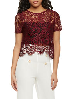 Short Sleeve Lace Crop Top with Scallop Hem - BURGUNDY - 1305054269343
