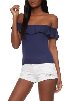 Off The Shoulder Ruffled Top - 1305054269510