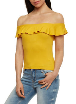 Off The Shoulder Ruffled Top - MUSTARD - 1305054269510