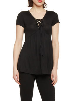 Short Sleeve Lace Up Babydoll Top - BLACK - 1305054269537