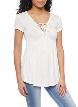 Short Sleeve Lace Up Babydoll Top - OFF WHITE - 1305054269537