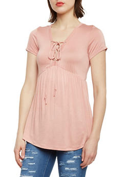 Short Sleeve Lace Up Babydoll Top - MAUVE - 1305054269537