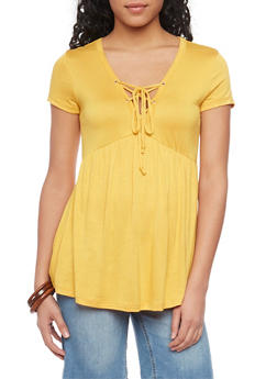 Short Sleeve Lace Up Babydoll Top - MUSTARD - 1305054269537