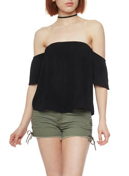 Off the Shoulder Crinkle Knit Top - 1305054269649