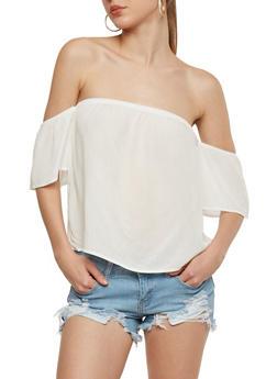 Off the Shoulder Crinkle Knit Top - OFF WHITE - 1305054269649