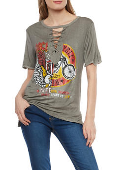 Lace Up Graphic T Shirt - 1305058750062