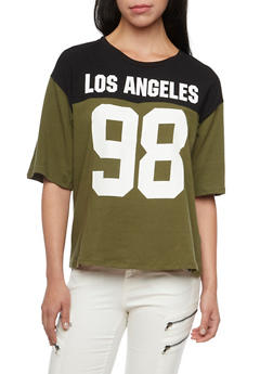 Oversized Varsity Tee with Los Angeles 98 Print - 1305058750123