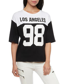 Oversized Varsity Tee with Los Angeles 98 Print - WHT-BLK - 1305058750123