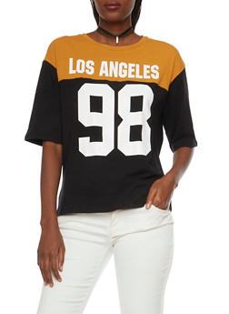 Oversized Varsity Tee with Los Angeles 98 Print - MUSTARD/BLK - 1305058750123