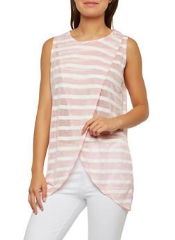 Sheer Tulip Hem Stripe Tunic - 1305058750133