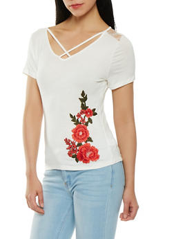 Caged Floral Applique Tee - 1305058750168