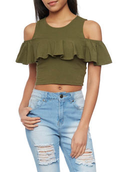 Cold Shoulder Crop Top with Ruffled Detail - OLIVE - 1305058750185