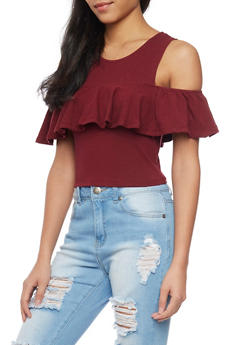 Cold Shoulder Crop Top with Ruffled Detail - BURGUNDY - 1305058750185
