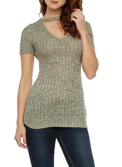 Marled Short Sleeve Choker Neck Top - OLIVE - 1305058750212