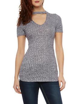 Marled Short Sleeve Choker Neck Top - 1305058750212