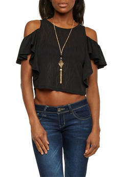 Cold Shoulder Ruffle Crop Top with Necklace - 1305058750327