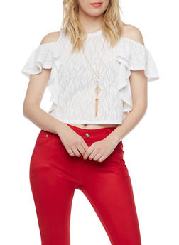 Cold Shoulder Ruffle Crop Top with Necklace - WHITE - 1305058750327