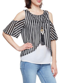 Layered Cold Shoulder Top with Stripes and Necklace - 1305058750383