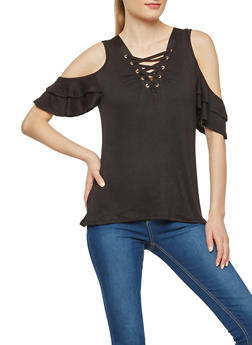 Flutter Sleeve Lace Up Cold Shoulder Top - 1305058750462