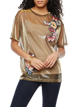 Embroidered Metallic Mesh Top - 1305058750490