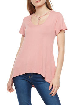 Soft Knit Caged Neck High Low T Shirt - 1305058750517