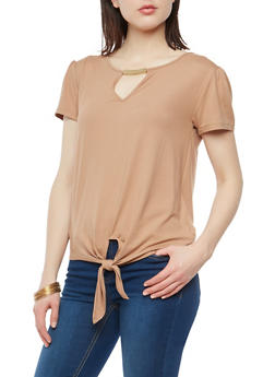 Short Sleeve Tie Front Keyhole Top - 1305058750531