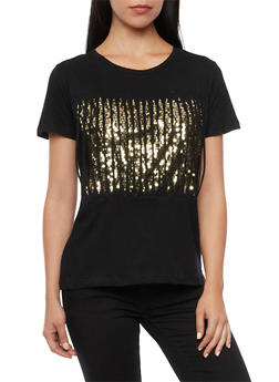 T Shirt with Sequin Backed Slash Cuts - 1305058750629