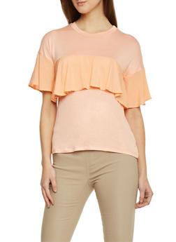 Short Sleeve Shirt with Ruffle Detail - 1305058750833