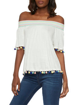 Off the Shoulder Top with Multi Color Pom Pom Trim Top - 1305058750953