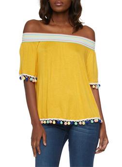 Off the Shoulder Top with Multi Color Pom Pom Trim Top - MUSTARD - 1305058750953
