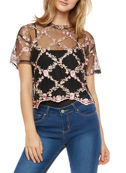 Floral Embroidered Mesh Top - 1305058752123