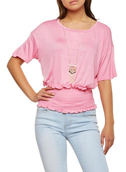 Smocked Waist Top with Necklace - 1305058752375