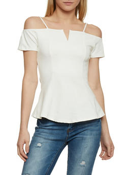 Off the Shoulder Ponte Knit Top - 1305058753905