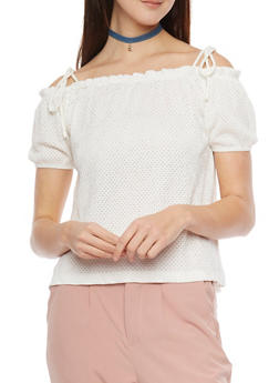 Off The Shoulder Crinkle Knit Laser Cut Top - WHITE - 1305058755722