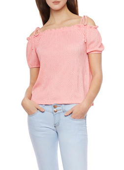 Off The Shoulder Crinkle Knit Laser Cut Top - 1305058755722