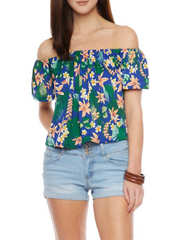 Tropical Off The Shoulder Top with Bell Sleeve - 1305058756191