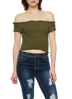 Off the Shoulder Crop Top - 1305058756257