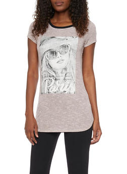 Marled Short Sleeve Graphic Tunic Top - 1305058756330
