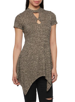 Marled Tunic Top with Keyhole Cutout Neckline - 1305058756493