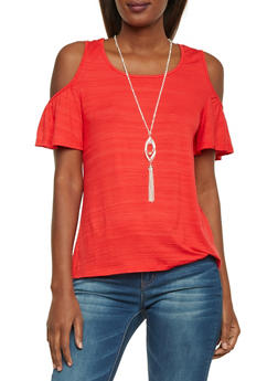 Cold Shoulder Top with Pendant Necklace - 1305058756526