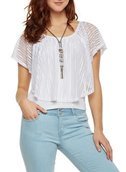 Off The Shoulder Top with Sheer Overlay and Necklace - 1305058756595