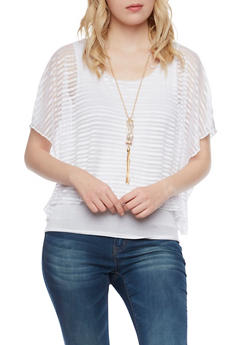 Shadow Stripe Overlay Top with Necklace - 1305058756642