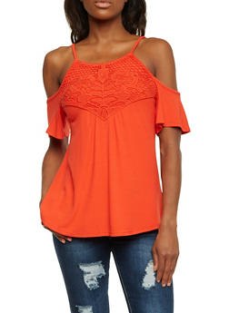 Cold Shoulder Top with Crochet Panel - 1305058756645