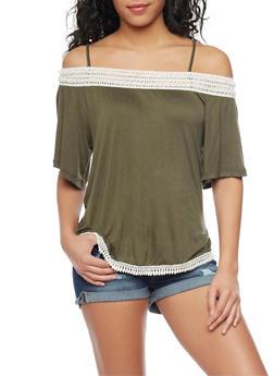 Off The Shoulder Flutter Sleeve Top with Crochet Trim - OLIVE - 1305058756654
