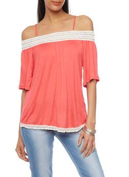 Off The Shoulder Flutter Sleeve Top with Crochet Trim - 1305058756654