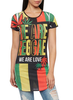 Striped Tunic Top with We Are Reggae Print - 1305058756661