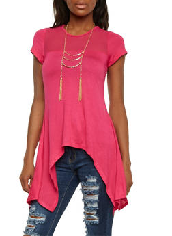 Mesh Trim Top with Necklace and Asymmetrical Hem - 1305058756731